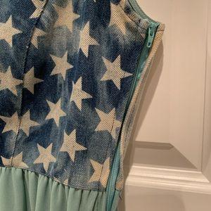 Dresses - High low denim chiffon dress